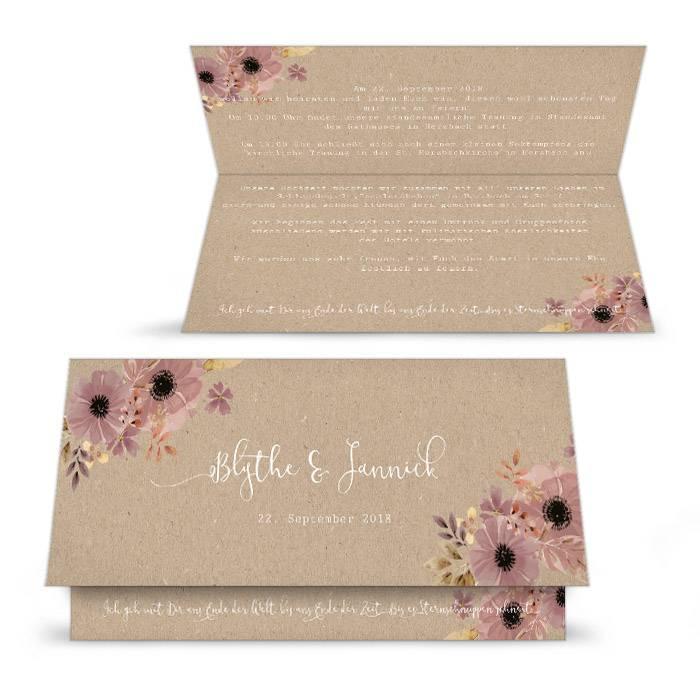 Hochzeitseinladung im romantischen Kraftpapierstil mit Blumen
