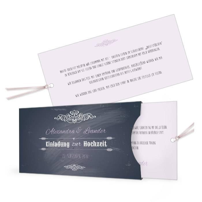 Einladung zur Vintage Hochzeit in angesagter Schieferoptik