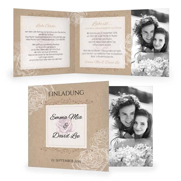 Einladung zur Hochzeit in Kraftpapieroptik mit Rosen in Weiß