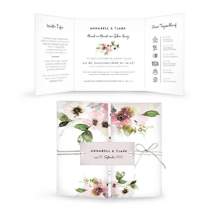 Hochzeitseinladung mit Anemonen im Aquarelldesign