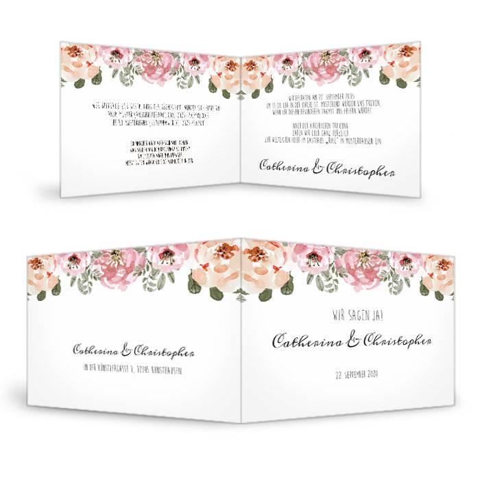 Vintage Hochzeitseinladung mit Aquarellblumen als Klappkarte