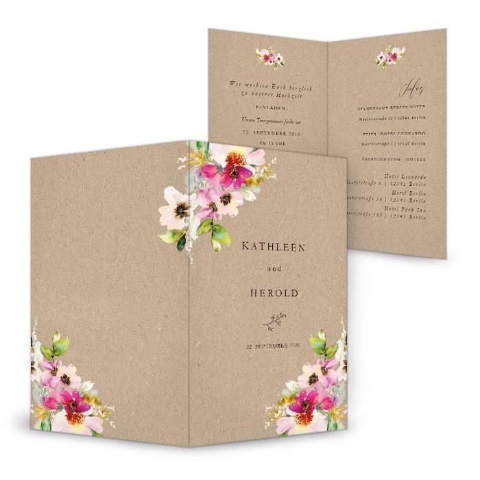 Hochzeitseinladung mit bunten Aquarellblumen als Klappkarte