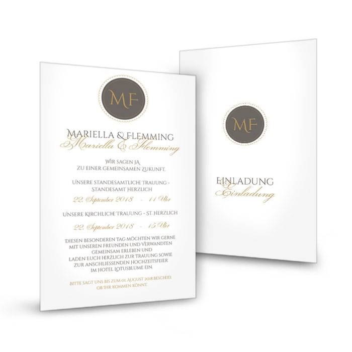 Schlichte Einladung zur Hochzeit mit elegantem Monogramm
