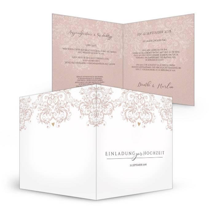 Romantische Hochzeitseinladung mit rosa Ornamenten
