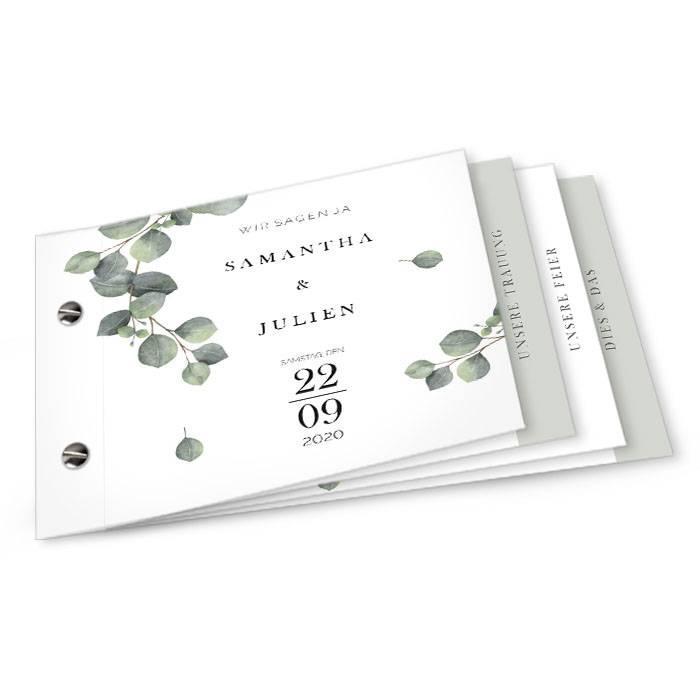 Greenery Hochzeitseinladung mit Eukalyptus als Booklet