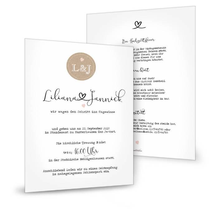 Große Hochzeitseinladung mit Herz und Kraftpapieremblem