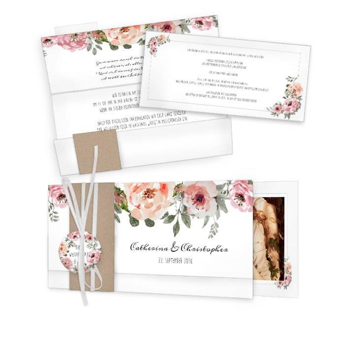 Romantische Vintage Hochzeitseinladung mit Aquarellblüten