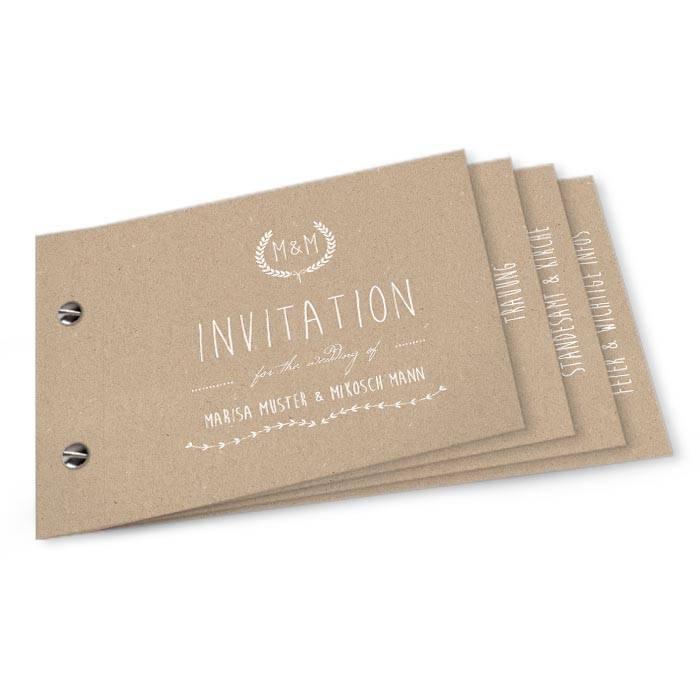 Hochzeitseinladung als Booklet im Kraftpapierdesign