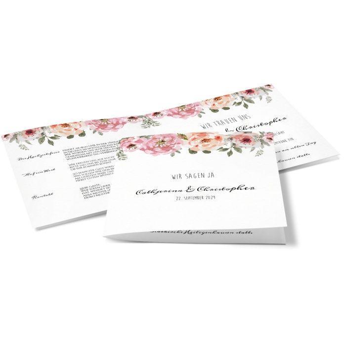 Romantische Hochzeitseinladung mit Blumen im Aquarellstil