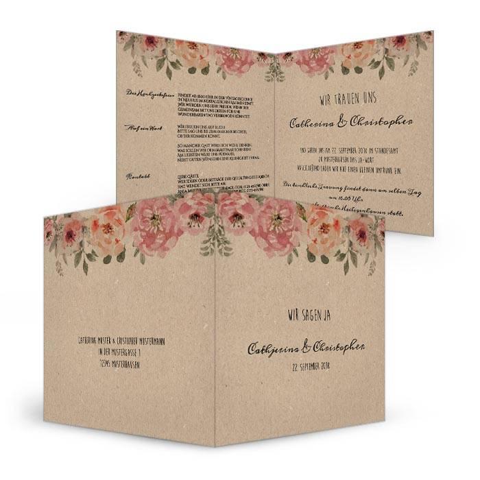 Hochzeitseinladung in Kraftpapieroptik mit Watercolor Blumen