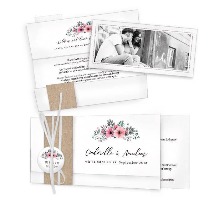 Hochzeitseinladung mit zarten Aquarellblumen in Rosa