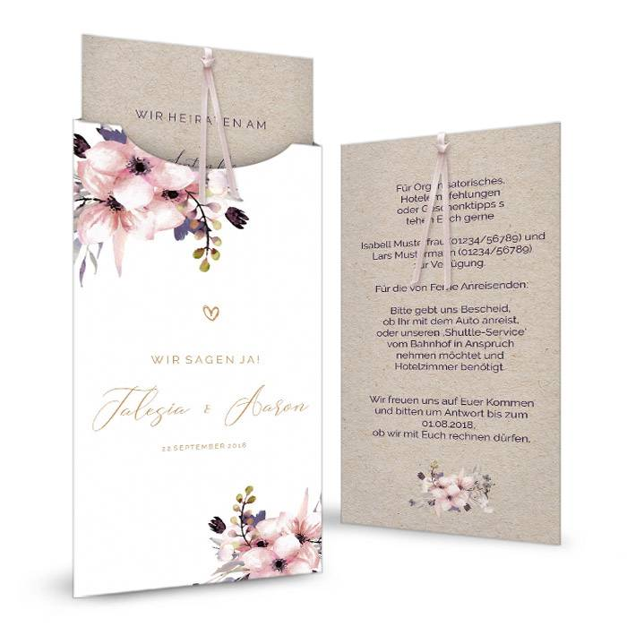 Einladung zur Hochzeit mit Aquarellblumen als Einsteckkarte