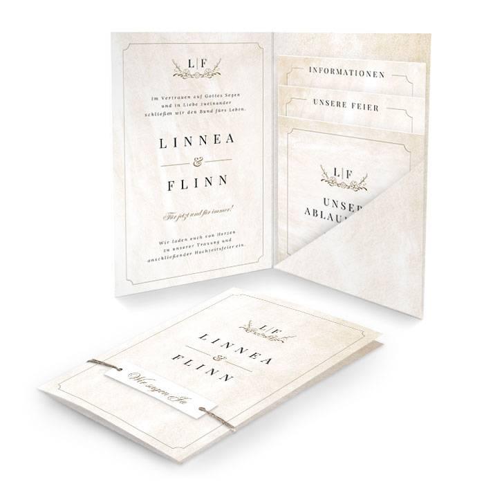Hochzeitseinladung als Pocket im eleganten Shabby Chic Design