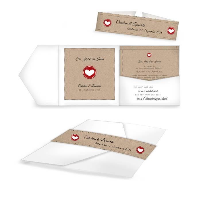 Hochzeitseinladung als Pocket Fold in Weiß mit Kraftpapierlook