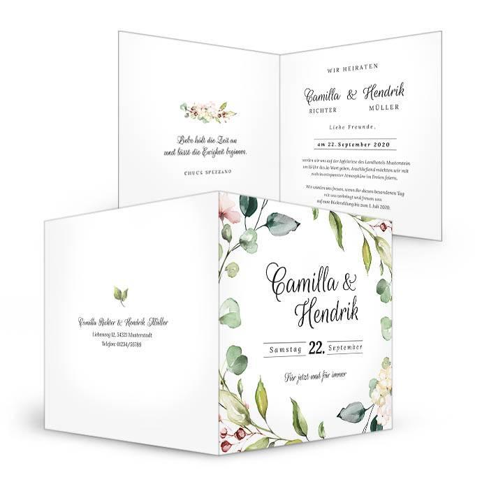 Hochzeitseinladung mit Blättern im zarten Greenery Stil