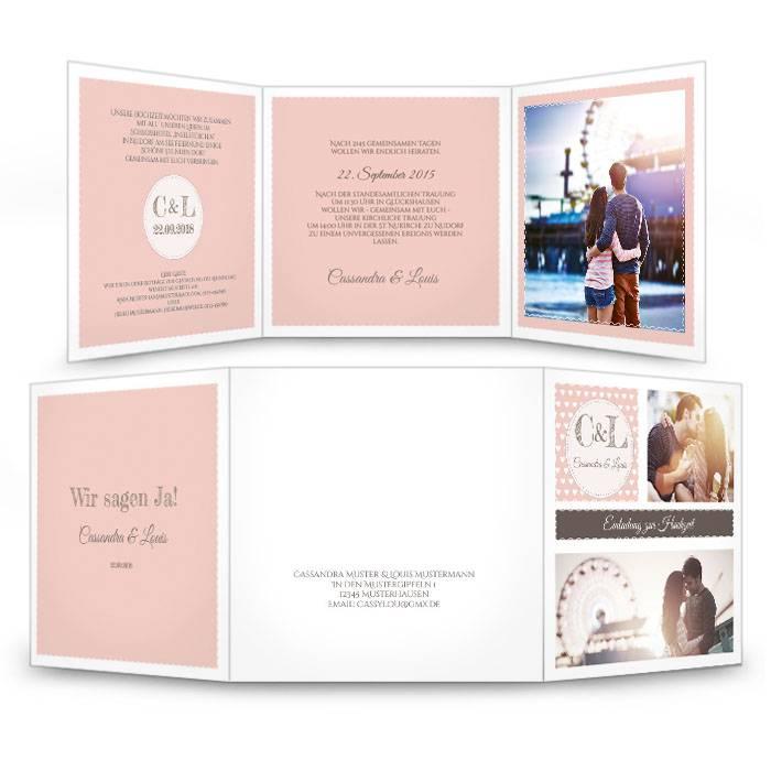 Hochzeitseinladung in Apricot im Retro Stil mit vielen Fotos