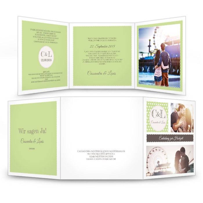 Hochzeitseinladung in Grün im Retro Stil mit vielen Fotos
