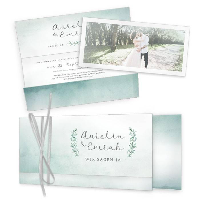 Hochzeitseinladung als Wickelfalz im Greenery Aquarell Stil