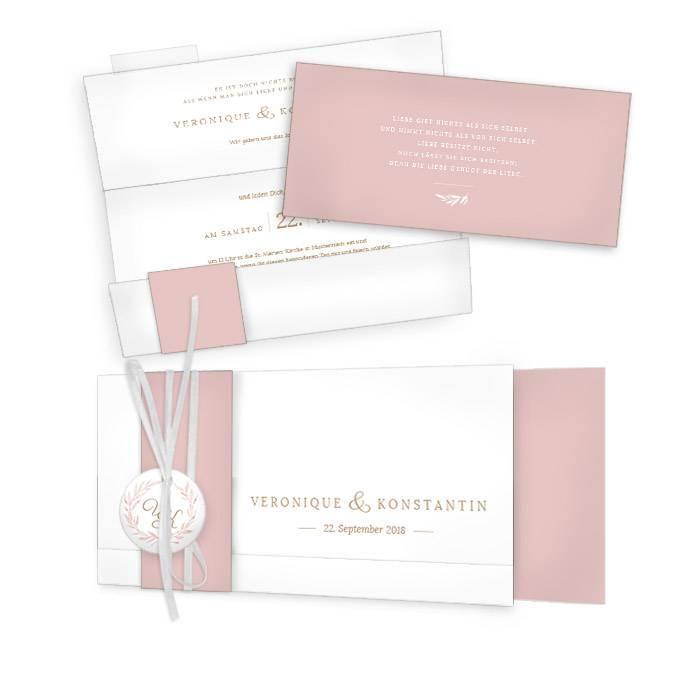 Edle Hochzeitseinladung mit Aquarell Blätterkranz in Rose