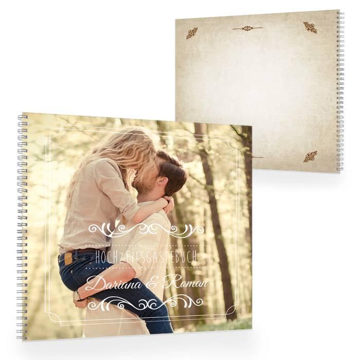 Gästebuch zur Hochzeit im Shabby Chic Stil mit großem Foto