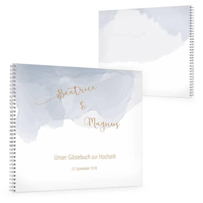 Hochzeitsgästebuch mit Aquarell Design in Hellblau