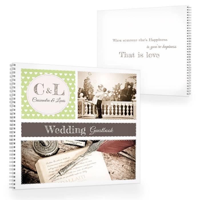 Gästebuch zur Hochzeit im Retrostyle in Grün mit Fotos