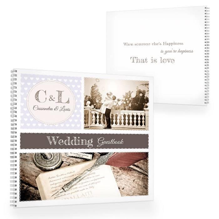 Gästebuch zur Hochzeit im Retrostyle in Flieder mit Fotos