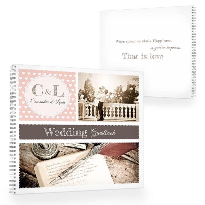 Gästebuch zur Hochzeit im Retrostyle in Apricot mit Fotos