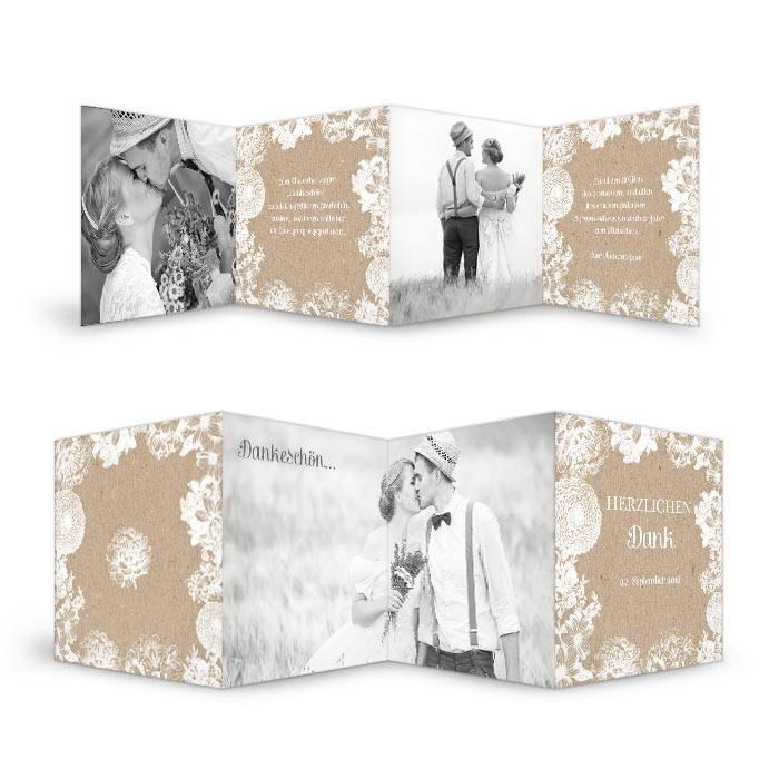 Vintage Danksagungkarte zur Hochzeit im Kraftpapierstil