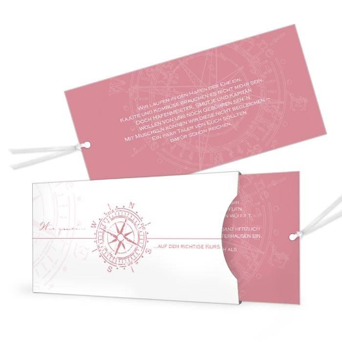 Einladung zur maritimen Hochzeit mit Kompassdesign in Rosa