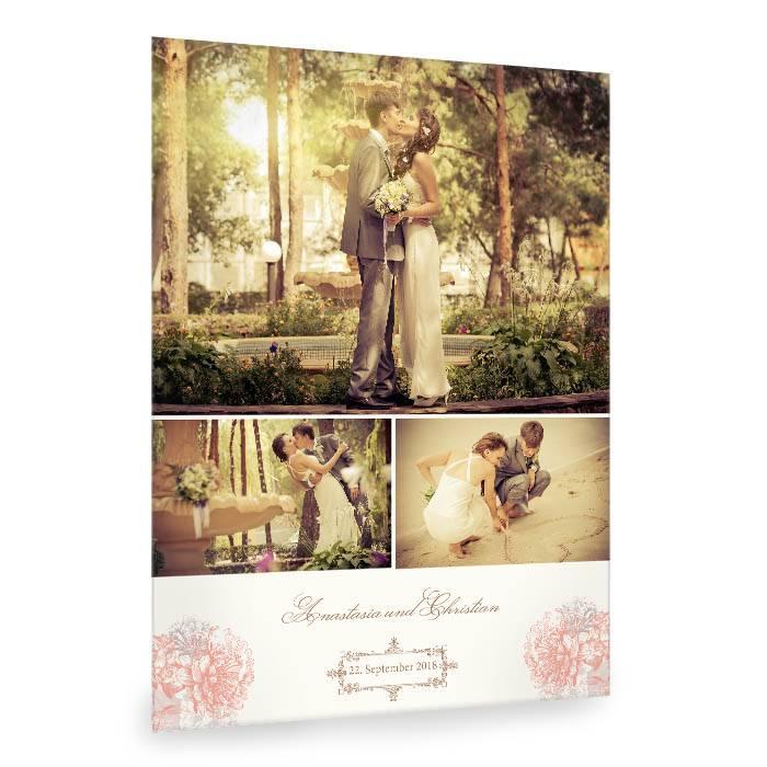 Romantische Fotocollage zur Hochzeit mit Blumen in Apricot