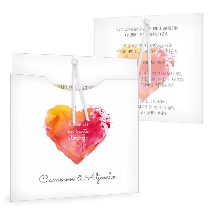 Hochzeitseinladung mit Watercolor Herz in Orange und Rot