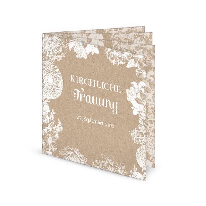 Florales Kirchenheft zur Hochzeit im Kraftpapierstil
