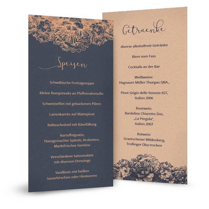 Menükarten zur Hochzeit in Blau mit floralen Ornamenten in Kupfer