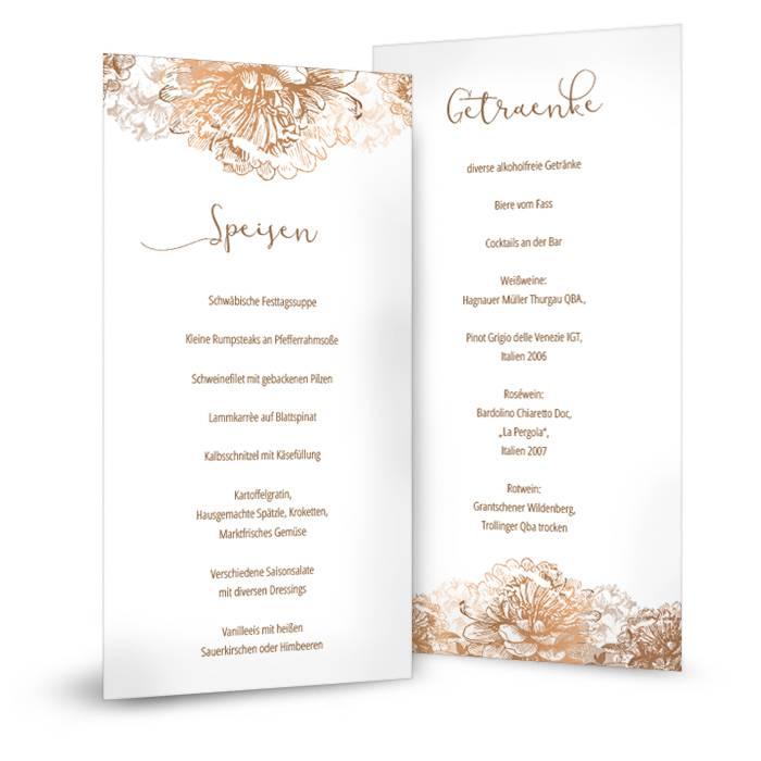 Menükarten zur Hochzeit in Weiß mit floralen Ornamenten in Kupfer