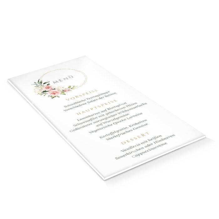 Hochzeitsmenü auf Acryl mit Goldreif und rosa Rosen