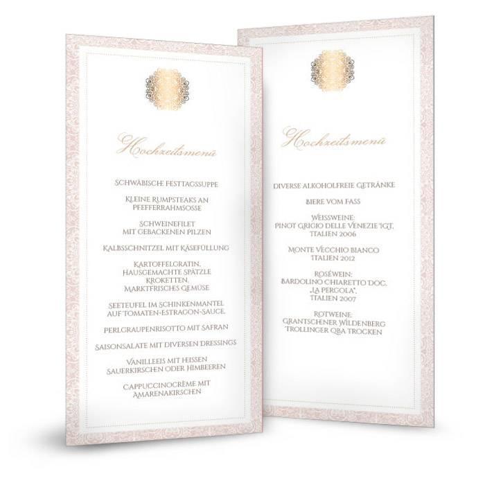 Elegante Menükarte zur Hochzeit in Rosé mit Goldornamenten