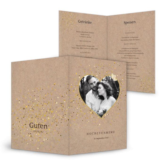Hochzeitsmenükarte in Kraftpapieroptik mit Foto im Herz und Goldglitter