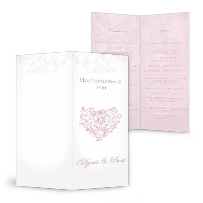Romantische Menükarte zur Hochzeit mit Herz in Weiß und Rosa