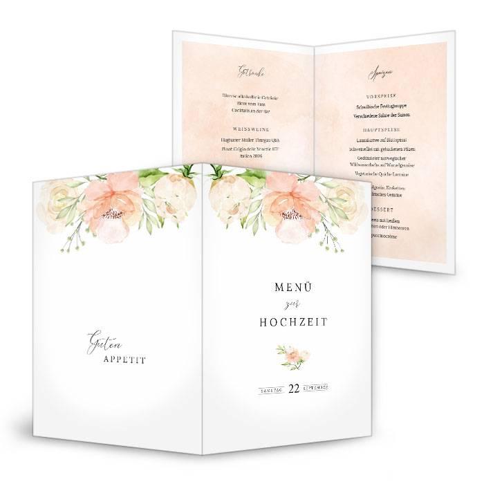 Florale Menükarte zur Hochzeit mit Aquarellrosen in Blush