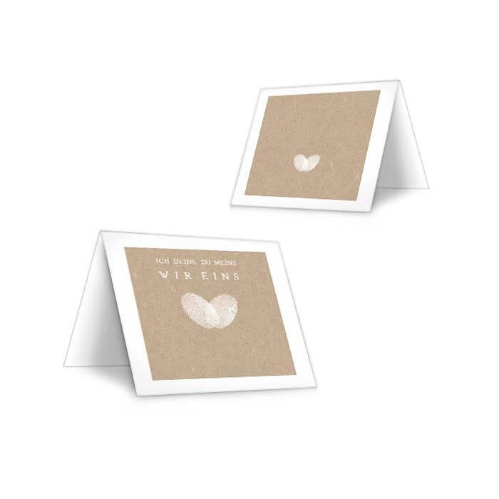 Hochzeitstischkarte mit Fingerabdruck Herz im Kraftpapierstil