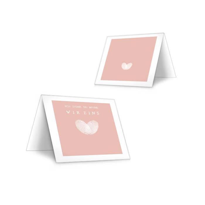 Tischkarte zur Hochzeit mit Fingerabdruck Herz in Rosa