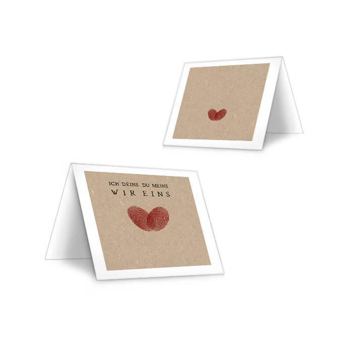 Tischkarte zur Hochzeit mit Fingerabdruck Herz in Rot