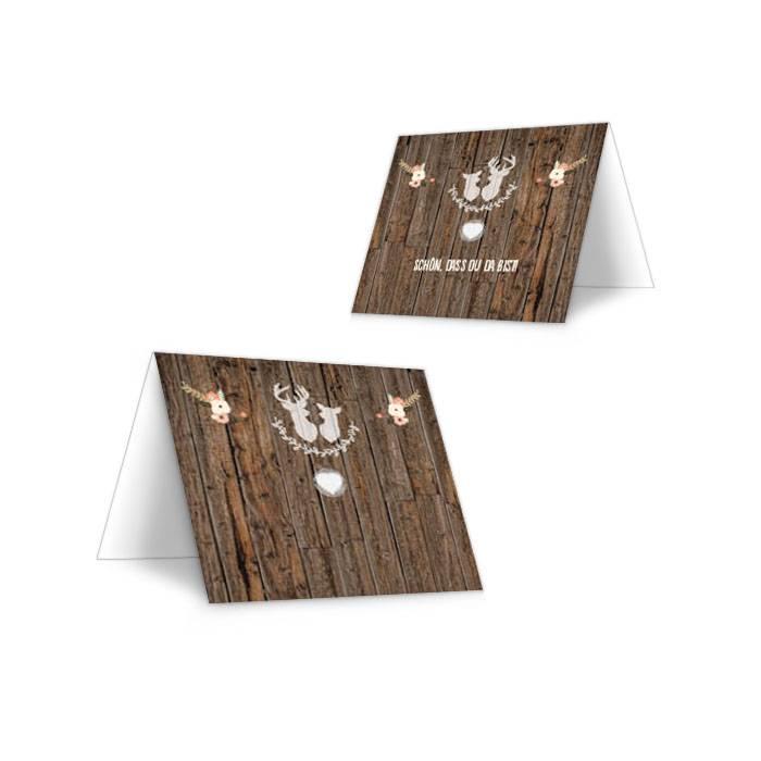 Tischkarte zur Hochzeit mit Holzoptik und Jagdmotiv