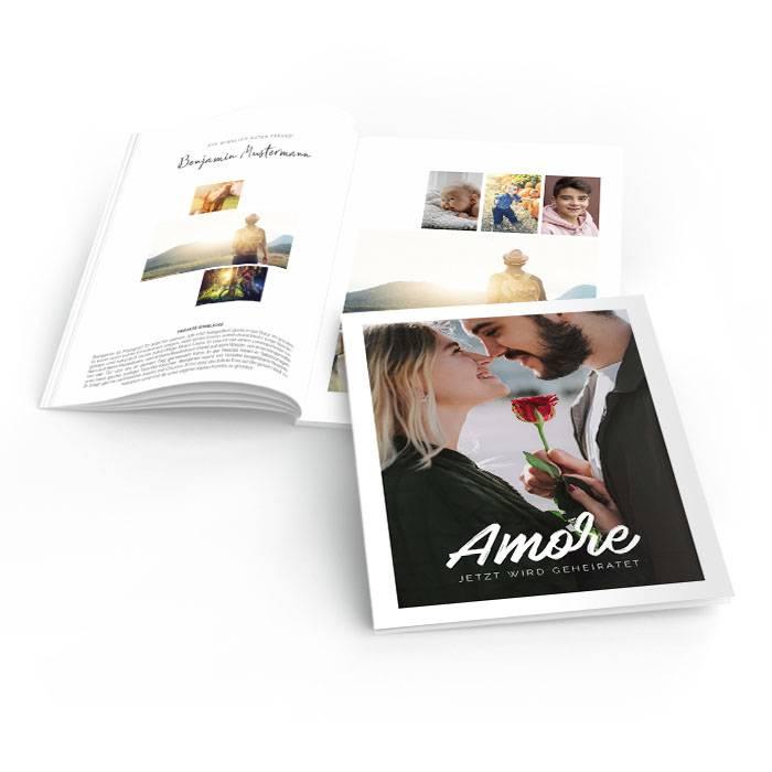 Hochzeitszeitung Amore mit Brush Lettering und großem Foto