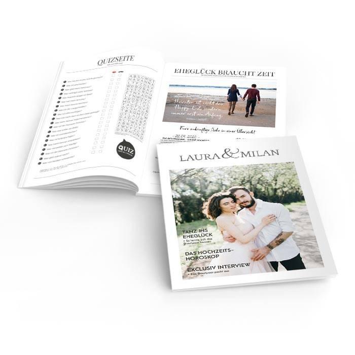 Hochzeitszeitung im Magazinstil mit Foto und Titelthemen