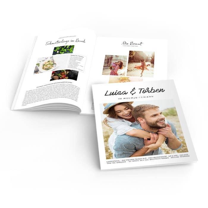 Hochzeitszeitung im modernen Magazin Layout mit großem Foto
