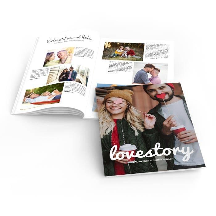 Hochzeitszeitung Lovestory mit Foto und moderner Schrift