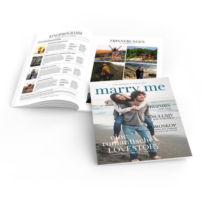 Hochzeitszeitung Marry Me im Zeitschriften Stil