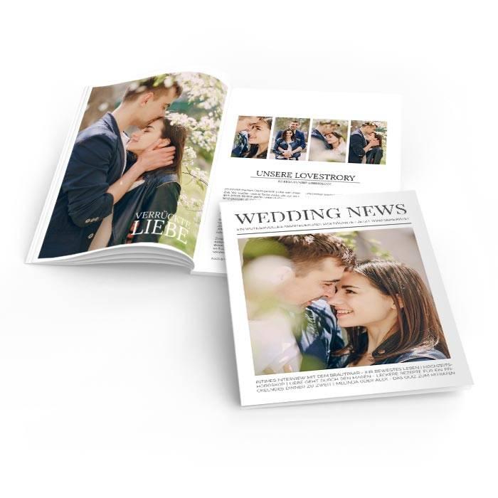 Hochzeitszeitung Wedding News im modernen Zeitungslayout